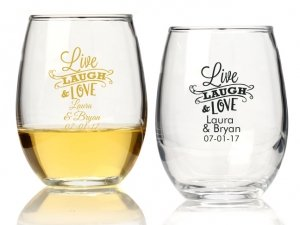 Live Laugh and Love Personalized 15 oz Stemless Wine Glass image
