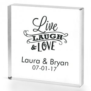 Live Laugh and Love Personalized Acrylic Cake Topper image