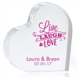 Live Laugh and Love Personalized Heart Cake Topper image