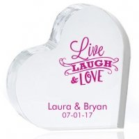 Live Laugh and Love Personalized Heart Cake Topper