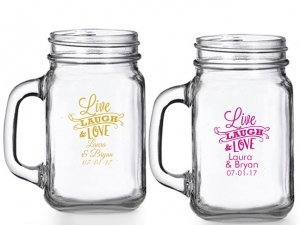 Live Laugh and Love Personalized Mason Glasses image