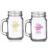 Live Laugh and Love Personalized Mason Glasses