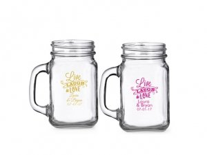 Live Laugh and Love Personalized Mini Mason Glass image
