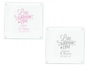 Live Laugh and Love Personalized Glass Coasters Favors image