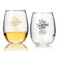 Live Laugh and Love Personalized 9 oz Stemless Wine Glass