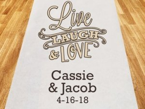 Live Laugh and Love Personalized Wedding Aisle Runner image