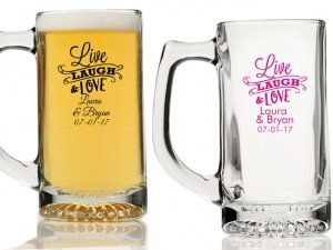 Live Laugh and Love Personalized Beer Mugs image