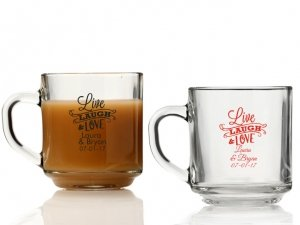 Live Laugh and Love Personalized Glass Coffee Mugs image