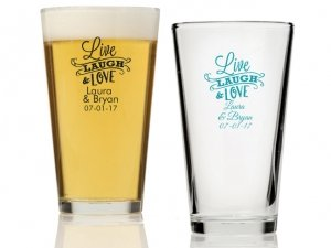 Live Laugh and Love Personalized 16 oz Pint Glass image