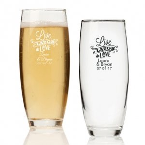 Live Laugh and Love Personalized Stemless Champagne Glass image