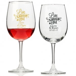 Live Laugh and Love Personalized Wine Glass image