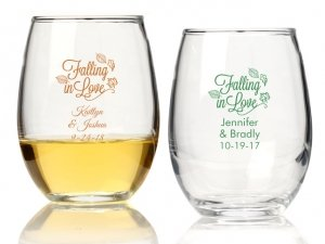 Falling in Love Personalized 15 oz Stemless Wine Glass image