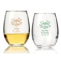 Falling in Love Personalized 15 oz Stemless Wine Glass