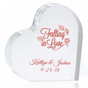 Falling in Love Personalized Heart Cake Topper image