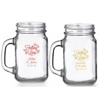 Falling in Love Personalized Mason Glasses