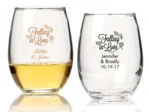 Falling in Love Personalized 9 oz Stemless Wine Glass image