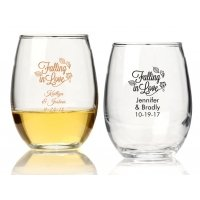 Falling in Love Personalized 9 oz Stemless Wine Glass