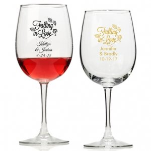 Falling in Love Personalized Wine Glass image