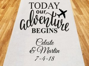 Today Our Adventure Begins Personalized Wedding Aisle Runner image