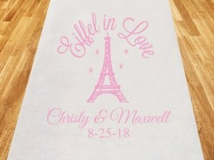 Eiffel in Love Personalized Wedding Aisle Runner image