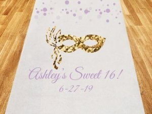 Sweet 16 or 15 Masquerade Personalized Aisle Runner image