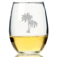 Palm Tree Mason Stemless Wine Glass (Set of 4)