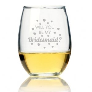 Will You Be My Bridesmaid Heart Stemless Wine Glass (Set of image