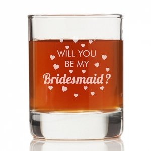 Will You Be My Bridesmaid Heart Rock Glasses (Set of 4) image