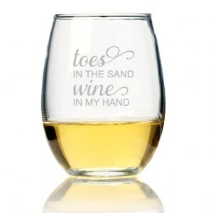 Toes In The Sand Wine In My Hand Stemless Wine Glass (Set of image