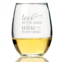 Toes In The Sand Wine In My Hand Stemless Wine Glass (Set of