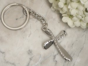 Beaded Chrome Silver Cross Keychain Favor image