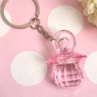 Pink Baby Pacifier Keychain Favor