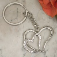 Elegant Chrome Double Heart Keychain Favor