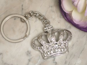 Silver Royal Crown Keychain Favors image