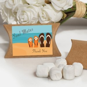 Soul Mates Beach Design White Mint Favor Boxes image