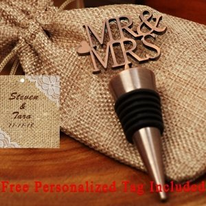 Personalized Copper Elegance Mr. And Mrs. Bottle Stopper image