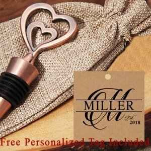 Personalized Copper Vintage Two Hearts Bottle Stopper image