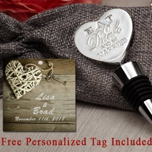 Personalized Eat Drink Be Married Chrome Bottle Stopper image