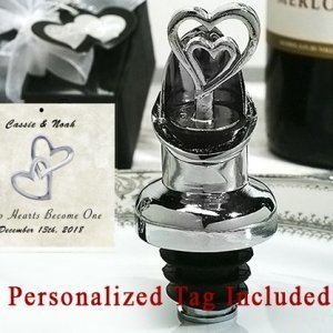 Personalized Two Heart Wine Pourer Bottle Stopper Combo image