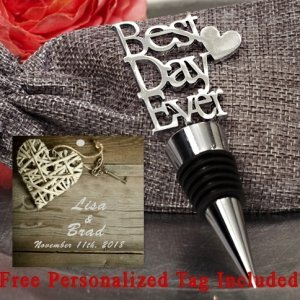 Personalized Our Best Day Ever Chrome Bottle Stopper image