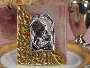 Gold Accented Rectangle Religious Icon Favors image
