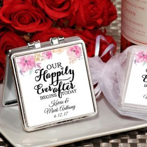 Happily Ever After Personalized Silver Compact Mirror Favors image