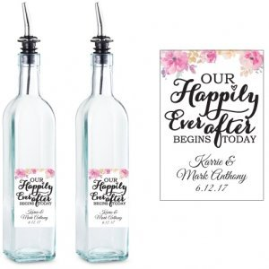 Happily Ever After Personalized Glass Olive Oil Bottle Favor image