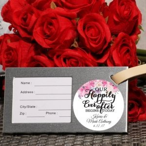 Happily Ever After Personalized Silver Luggage Tag Favor image