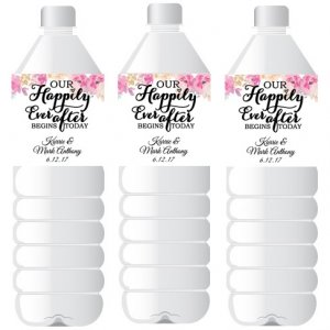 Happily Ever After Personalized Water Bottle Label Favor image