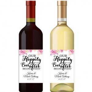 Happily Ever After Personalized Wine Bottle Label Favor image