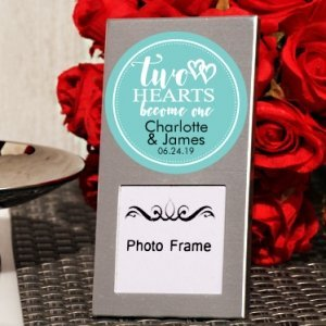 Two Hearts Become One Personalized Mini Photo Frame favors image