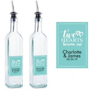Two Hearts Become One Personalized Olive Oil Party Favor image