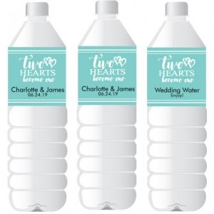 Two Hearts Personalized Water Bottle Sticker Favors image