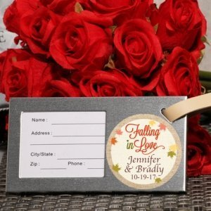 Falling In Love Personalized Silver Luggage Tag Favor image